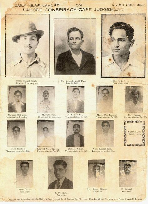 Death sentence judgement poster of bhagat singh, sukhdev, rajguru and others(1930)