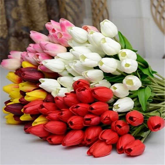 12 Pcs/lot latex mini tulip flower real touch wedding flower artificial flower silk flower home decoration