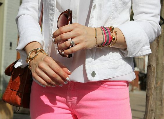 Pink + White - what to do with that white jean jacket