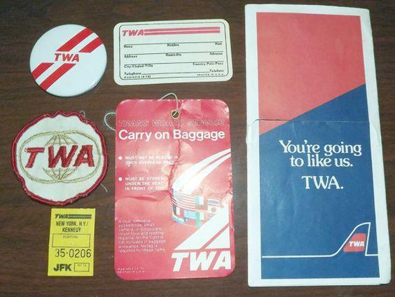 Vintage TWA (Trans World Airlines) Memorabilia (1970s-1980s)