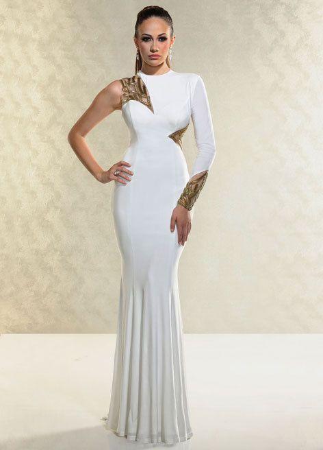 stunning o-neck long sleeve one shoulder formal white gown prom dresses 2015 vestidos de fiesta casamento