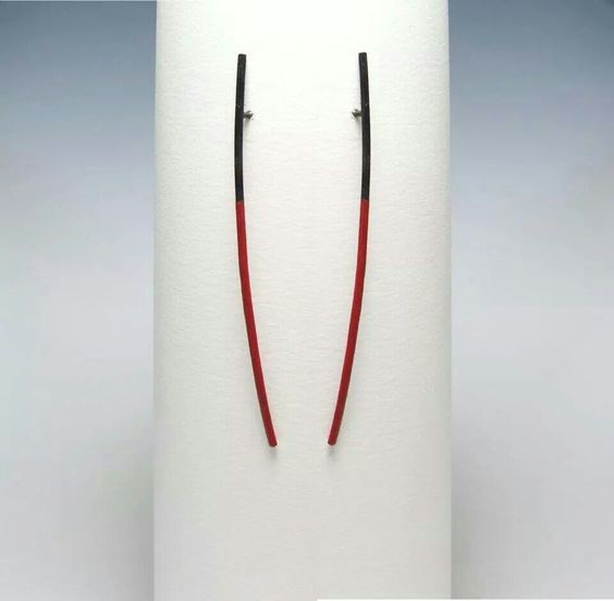 Akan Haktug - Stick Earrings - oxidized silver, paint