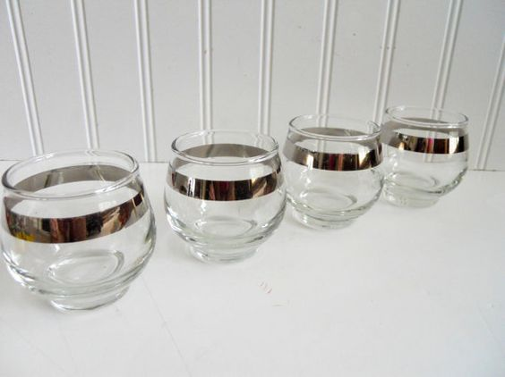 Silver Trim Rolly Polly Cocktail Glasses / Mad by mamiezvintage, $20.00