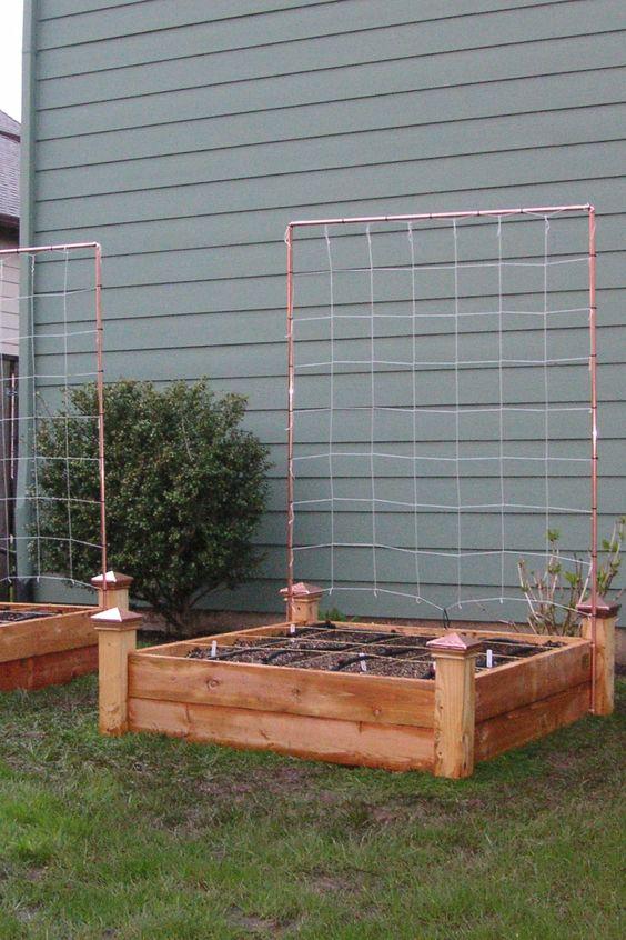 Trellis vegetables and raised beds on pinterest for Vegetable garden trellis