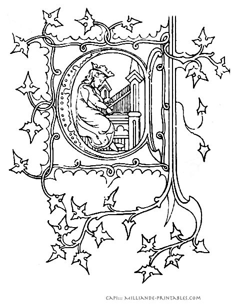 Illuminated manuscript letters printable alphabet for Illuminated alphabet coloring pages