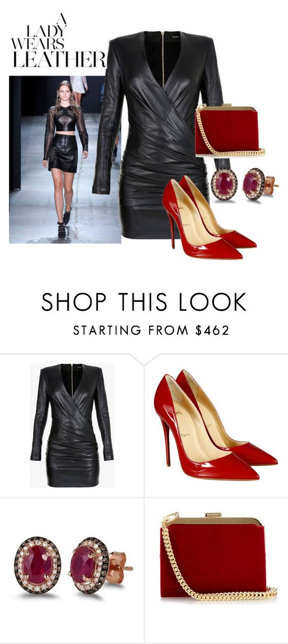 """""""Leather Dress"""" by brandonandrews500 ❤ liked on Polyvore featuring Balmain, Christian Louboutin and Effy Jewelry"""