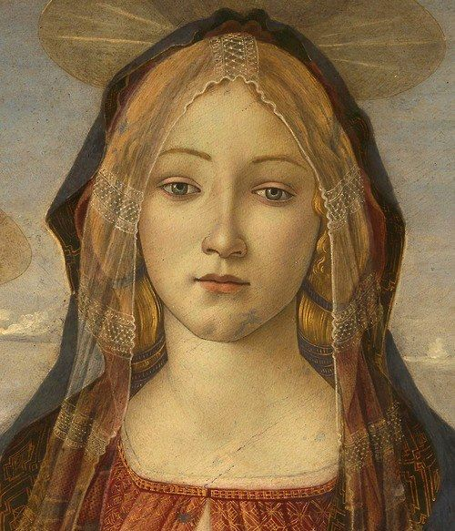 Sandro Botticelli - The Virgin and Child with Saint John and an Angel (detail), 1490.: