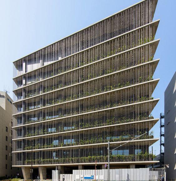 JCCU rain chain façade with Hemp plants, Japan by Seo inc. and Jun Hashimoto: