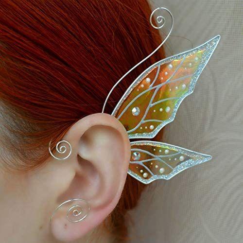 fantasy earrings colorful earrings Butterfly Wings Earrings surgery steel green crystal resin Butterfly Wings Jewelry red color