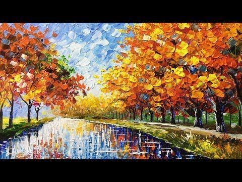 Autumn Beauty Palette Knife Acrylic Painting Youtube Abstrakte