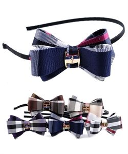 Plaid Print Bow Headband