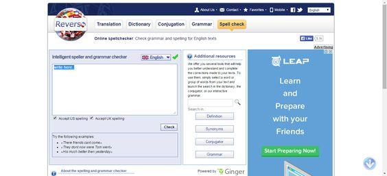 Grammar and spellchecker – English – Reverso