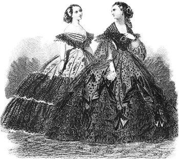 Women's vintage clothing during the Victorian era featured wide, full skirts and crinolines (stiffened petticoats). As early as the 1830s, to support more fullness, hoops made out of material such as cane were sewn around the hems of the petticoats. Vintage clothing In 1858 included steel hoops attached to vertical tapes hanging from the waist forming a cage. This called for fewer petticoats to be worn and the cage crinoline became very popular.