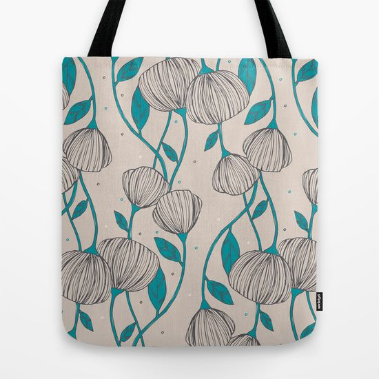 Blue+Stem+Flowers+Tote+Bag+by+Tracie+Andrews+-+$22.00