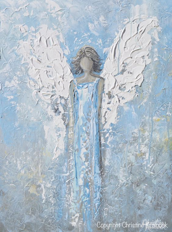 An Angels Whisper Fine art abstract guardian angel painting print / canvas print light blue grey white modern spiritual art depicting heavenly angel watching over & protecting. Select Paper Print or Canvas Print of this stunning, abstract, guardian angel painting. This hand-painted, contemporary, figurative piece possesses not only a comforting sense of spirituality, peace and calm, but with its soothing shades of blue & textured layers of paint, it also contains a vintage, stylish, organic f...