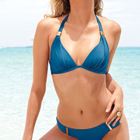 """""""The Forever Halter"""" by Victoria's Secret NWOT, accidentally ordered two. Great triangle push-up. Victoria's Secret Swim Bikinis"""