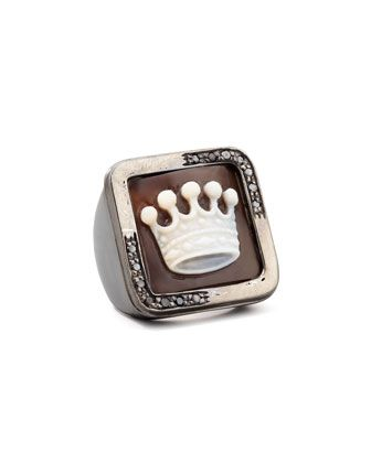 Diamond-Trim Hand-Carved Crown Cameo Ring by AMEDEO at Neiman Marcus.