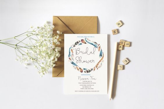 Printable Bohemian Watercolour Feather  Bridal Shower Invitation.  Beautiful…