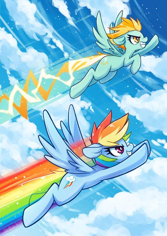 Rainbow Dash vs Lightning Dust. I hope Rainbow kicks Lighting's butt during the Friendship Games
