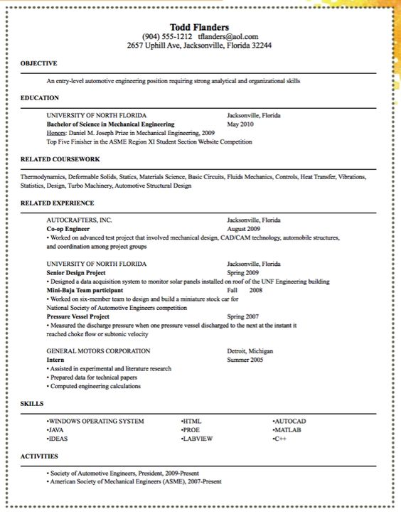 sample entry level automotive engineering resume resume