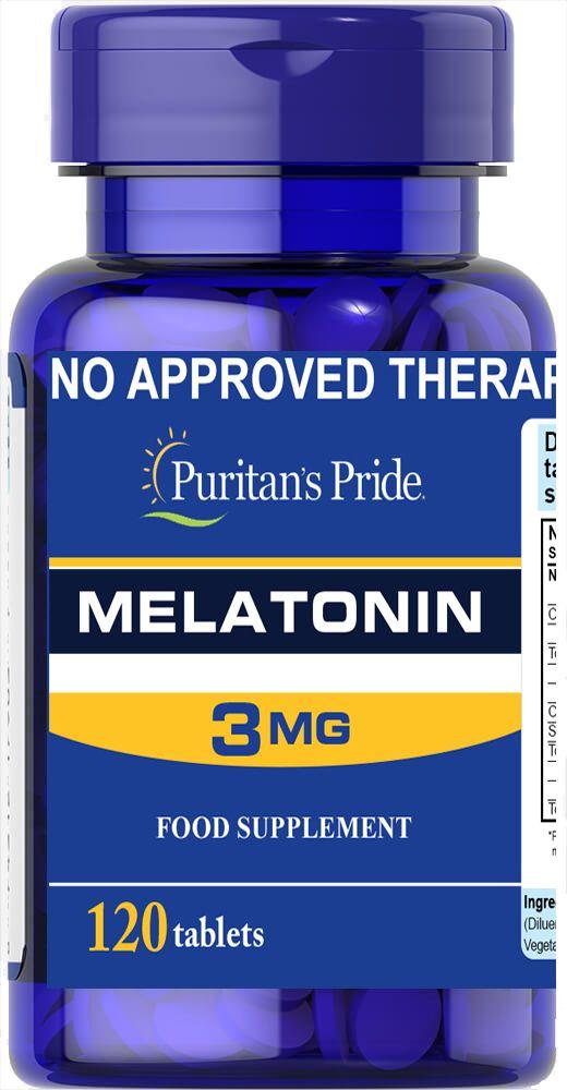 Melatonin 3 Mg 120 Tab كبسولات ميلاتونين لنوم هادئ عميق Melatonin Puritans Pride Ingre