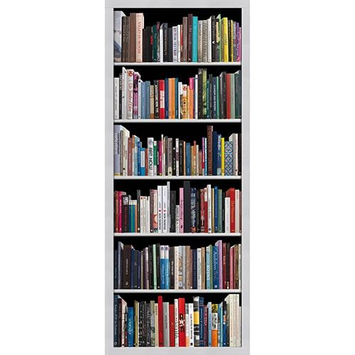 Adhesif Pour Porte En Trompe L Oeil Fausse Bibliotheque Livres Modernes Bibliotheque Moderne Bibliotheque Stickers Porte
