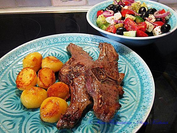 Lammkoteletts, Erdäpfel, Salat  - https://www.facebook.com/media/set/?set=a.787093161389072.1073742111.504055336359524&type=3&uploaded=4