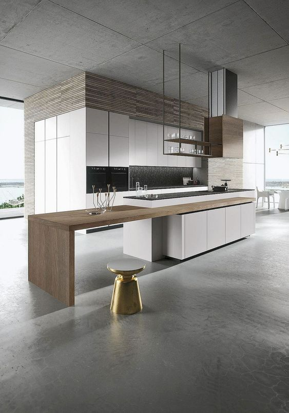 Cantilevered\/floating open shelf at island--Goldreif PURE - alno küchen qualität