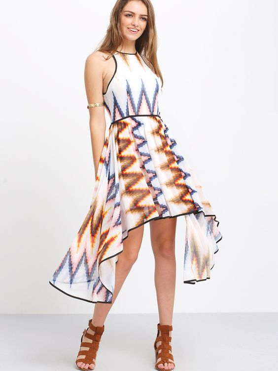 Multicolor+Sleeveless+Print+Asymmetrical+Dress+25.99
