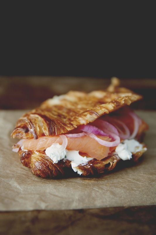 GRIDDLED CROISSANT WITH CHIVE CREAM CHEESE, SMOKED SALMON, & PICKLED ONIONS: Cream Cheese, Pickled Red Onions, Breakfast Sandwiches, Food Drink, Griddled Croissant