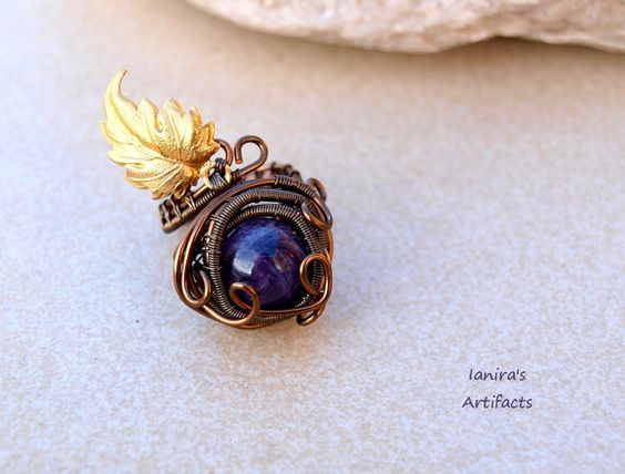 Amethyst wire wrapped adjustable ring with leaf ♥ by Ianira on Etsy