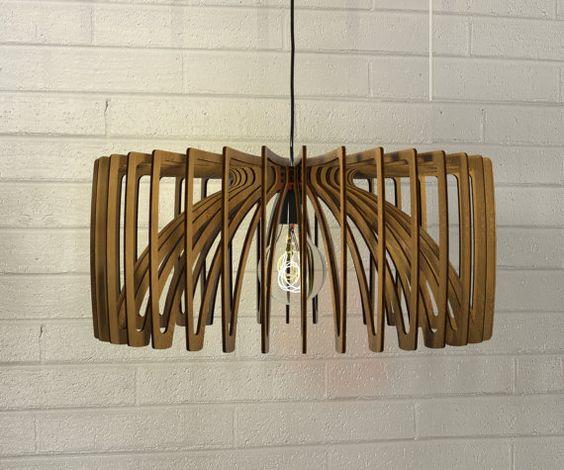 Bois suspension d coup au laser lustre lampe fait main for Cache lustre au plafond