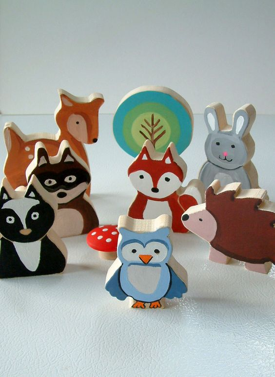 Animals Toys For Boys : Woodland animal family all wood toy set piece