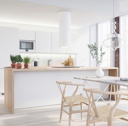 Kitchen. Cocina isla comedor sillas lámpara