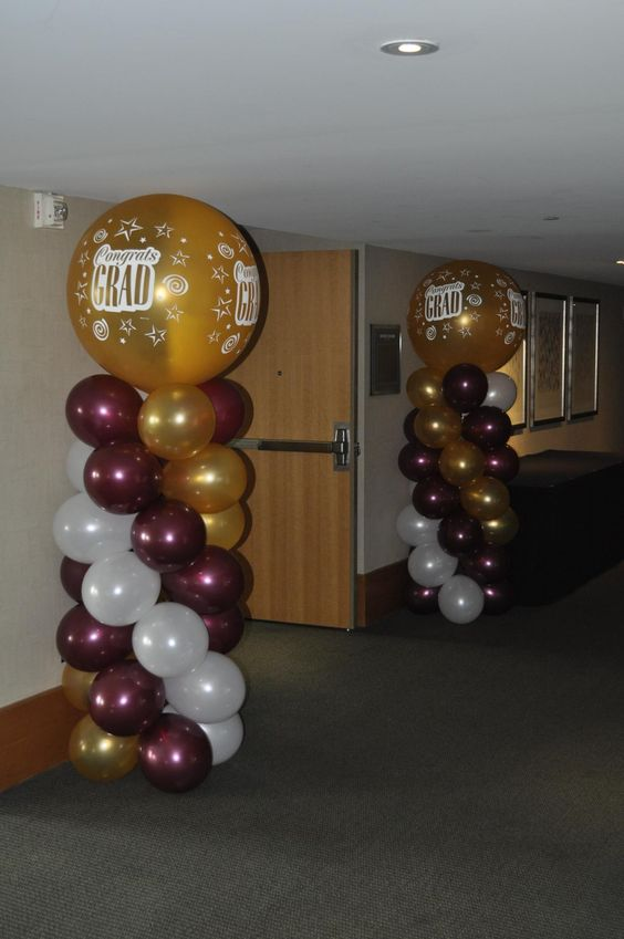 Columns images of heaven and balloons on pinterest for Balloon decoration ideas for graduation