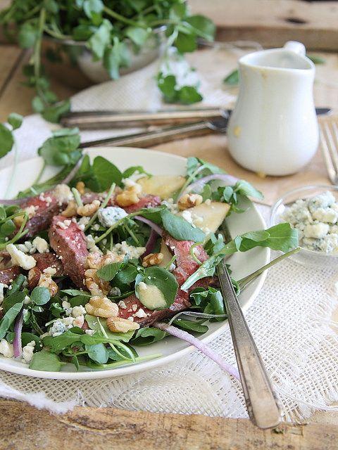 Steak, pear and watercress salad #freshandfab #pmedia #ad