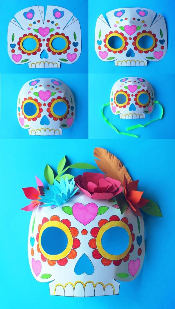Download 3 printable color in templates + Day of the Dead careta mask instructions: Add paper flowers or some paper leaves to complete your own mask design! https://happythought.co.uk/craft/day-of-the-dead-party-ideas-calavera-masks/attachment/day-of-the-dead-instructions-sugar-skull-craft