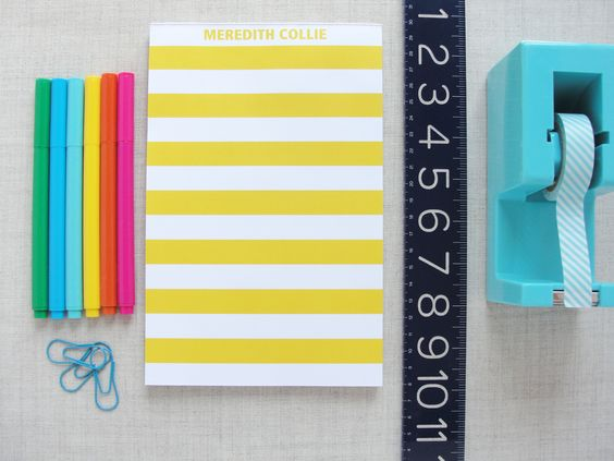 Personalized Striped Notepad | Meredith Collie PaperMeredith Collie Paper