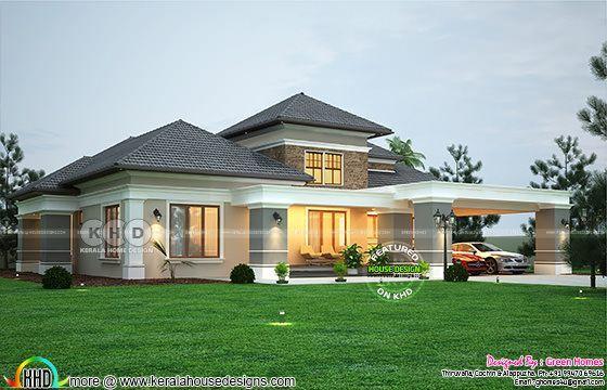 Elegant Sloping Roof Bungalow Design 2990 Sq Ft Kerala Home Design One Storey House Kerala House Design Bungalow Design
