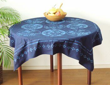 テーブルクロス 和柄 藍染 和風丸花柄 綿 正方形