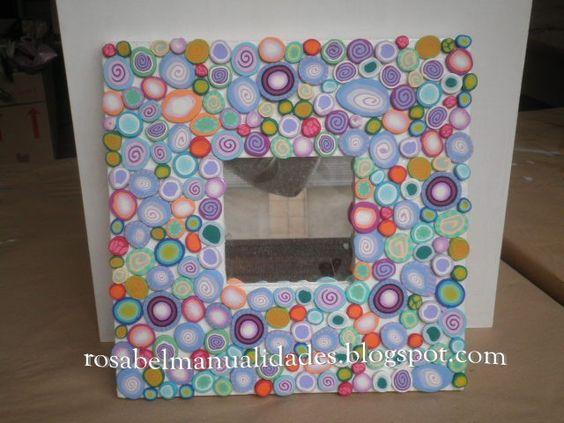 Rosabel manualidades marcos para espejos decorados con for Marcos decorados para espejos