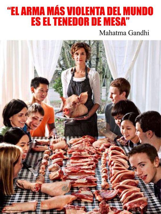 El arma más violenta del mundo es el tenedor de mesa. Mahatma Gandhi. 60.000 millones de animales asesinados cada año. Eso es una verdadera arma de destrucción masiva.