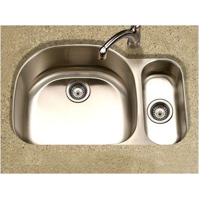 """Houzer Medallion Designer 32"""" x 17.94 - 21"""" Undermount Double Bowl 80/20 Kitchen Sink Bowl Configuration:"""