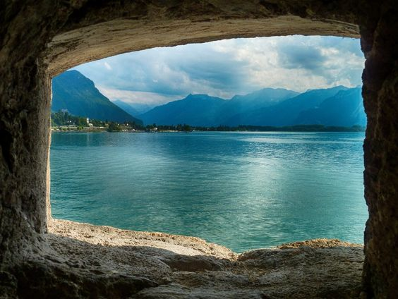 View from the dungeon of the Château de Chillon. Definitely deserves a visit this amazing Castle that is listed as one of Switzerland's most visited historic monuments.