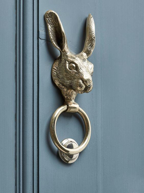 NEW Solid Brass Hare Door Knocker