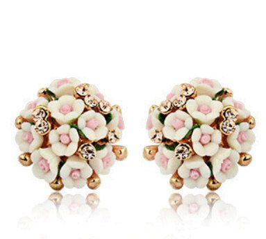 Ceramic flowersceramic earrings small earrings exquisite earrings for women jewelry sterling silver jewelry lovely girl (8.00 USD) by ShiningBead