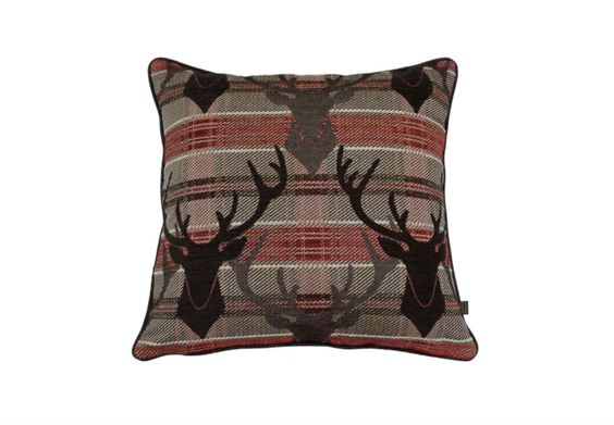 Accessorize with soft, comfy cushions with a hint of colour like this red stag cushion. #home #decor #accessories