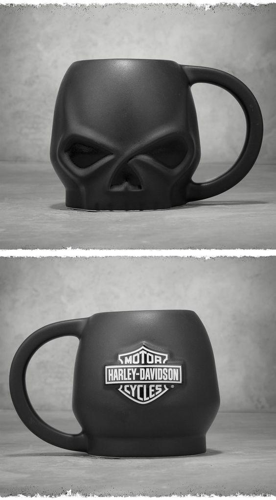 "Nothing says ""Leave me alone until I've had my coffee"" quite like this mug. | Harley-Davidson Matte Skull Ceramic Mug"