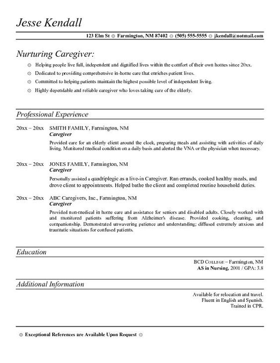 8 best resume images on Pinterest Professional resume template - sample resume for caregiver