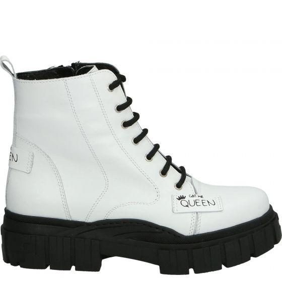 Biale Sznurowane Botki 739h117 White Top Sneakers Boots High Top Sneakers